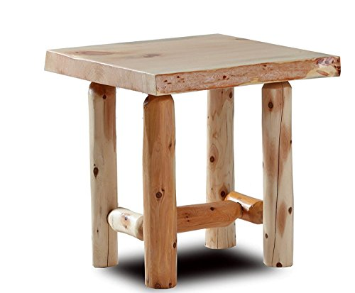 Rustic Log End Table Pine and Cedar (Natural Clear)