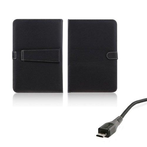 AFUNTA Caso del Cuero de la PC de la Tableta de 10,1 Pulgadas Universal con el Teclado/Soporte para 10'Tablet PC (con Micro USB Keyboard)