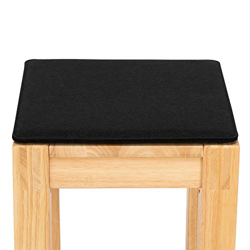 FILU Sitzkissen aus Filz 2er-Pack Schwarz eckig (Farbe und Form wählbar) 35 x 35 cm – Sitzkissen für drinnen und draußen, Deko für jeden Stuhl im Wohnzimmer oder Esszimmer, Gartenstuhl/Balkonstuhl