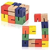 ArtCreativity Wooden Twist Cubes, Pack of 2, Colorful Mind Game, Stretch, Twist, and Lock Brain Teaser Fidget Sensory Toys for Kids, Stocking Stuffer and Party Favors for Boys and Girls