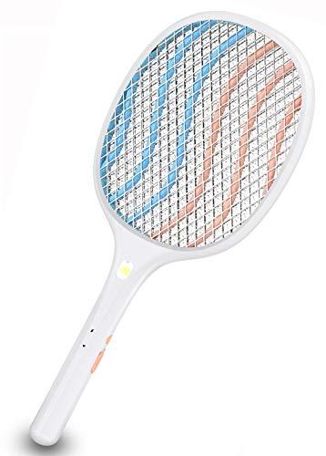 Zenoplige Raquette Electrique Insectes Rechargeable USB Raquette Electrique Éclairage LED Triple Couche de Maillage pour Débarrasser des Moustiques et Autres Insectes, Blanc