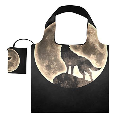 Bolsas de compras reutilizables para regalo de comestibles, gran capacidad, plegable, lobo, animal, luna, universo