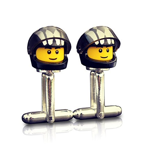 LEGO® Biker Manschettenknöpfe (schwarz Muster) Motorrad, Hochzeit, Bräutigam, Best Man, Usher, Groomsmen, Herren Geschenk