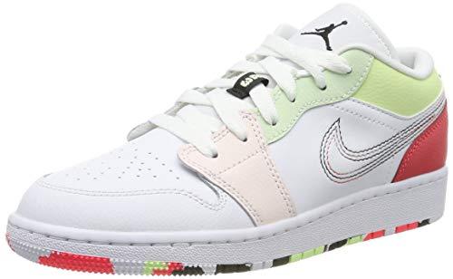 Nike Mädchen Air Jordan 1 Low (gs) Basketballschuhe, Weiß (White/Black/Ember Glow/Barely Volt/Lt Soft Pink/Jade Aura 176), 38 1/2 EU