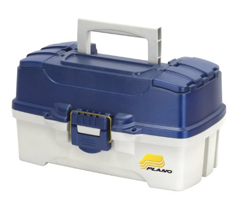 Plano 2-Tray Tackle Box with Dual Top Access, Blue Metallic/Off White, Premium Tackle Storage, 620206, One Size