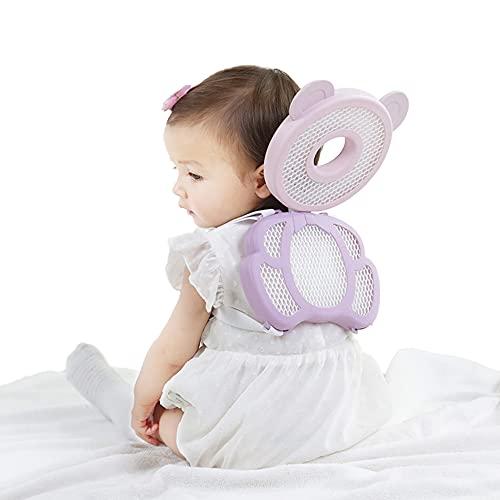 SNDMOR Cojín protector de cabeza de bebé, Almohada anticaída para bebé, Almohadilla de seguridad para la cabeza del niño,Suave y transpirable mochila ajustable(Osito morado)
