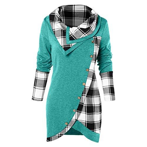 VECDY Damen Pullover,Räumungsverkauf- Herbst Frauen Langarm Hoodie Sweatshirt Pullover mit Kapuze Baumwollmantel Pullover Lässige hohe Kragen warmen Pullover Hoodie (44, V-S-G)