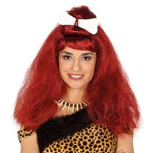 Guirca Höhlenmensch Perücke lang Steinzeit rot rotbraun Damen mit Haarband
