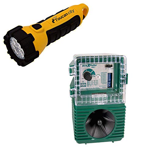 Toucan City LED Flashlight and Bird-X Woodpecker Pro Electronic Bird Repeller Guaranteed Woodpecker Control Solution 1-Acre Coverage BXP-PRO WP