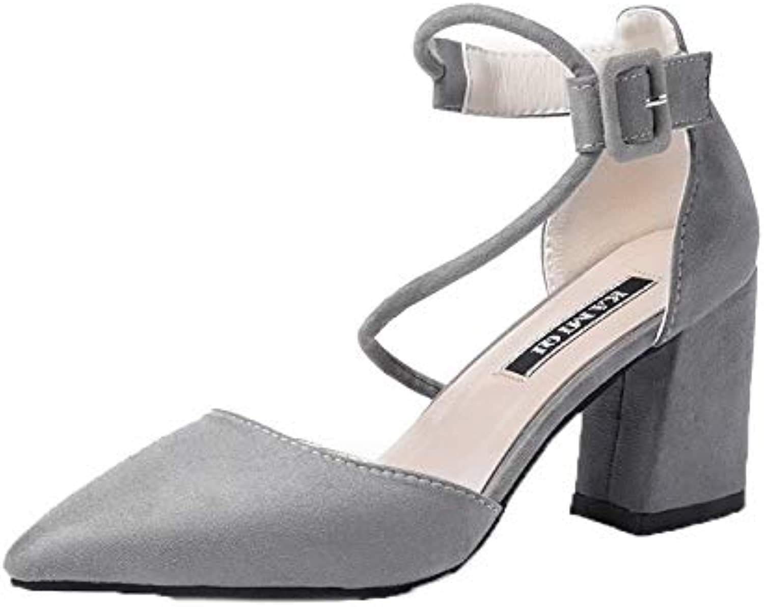 AllhqFashion Women's Hook-and-Loop Closed-Toe High-Heels Imitated Suede Sandals, FBULC013030