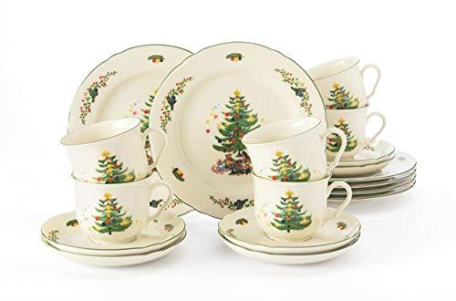 Seltmann Weiden Kaffeeservice 18-teilig Cream | Set für bis zu 6 Personen |Serie Marieluise | beinhaltet je 6 Speiseteller und Frühstücksteller, Hartporzellan, Grün/Bunt