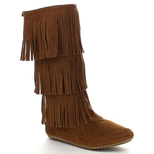 Nature Breeze Womens Cherokee-03 Fringe Mocassin Faux Suede Boots,Tan,8.5