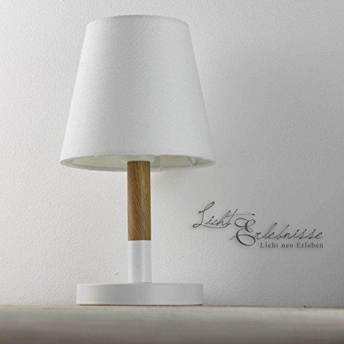 Lampe de table moderne en blanc effet bois E14 40 W 230 V en plastique et métal Salle à manger Chambre à coucher, cuisine ou couloir lampe Leuchten Éclairage