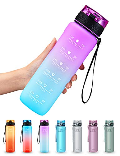 OMORC Botella Agua Deporte, Botella Agua Gimnasio, Botella Plastica Tritan Reutilizable Filtro 900ml, Cepillo de Limpieza&Marcador de Tiempo, sin BPA