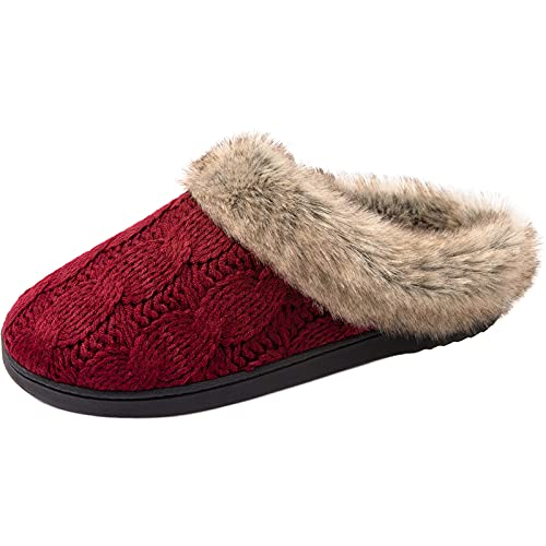 ULTRAIDEAS Women's Cable Knit Slippers with Memory Foam and Fur Collar, Fuzzy Slip on House Shoes(9-10,Red)