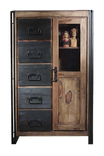 Sit Möbel 9201-01 Brotschrank Panama Shesham Natur mit schwerem Altmetall und Gebrauchsspuren, 90 x 45 x 147 cm, 1 Tür, 5 Schubladen, 3 Böden