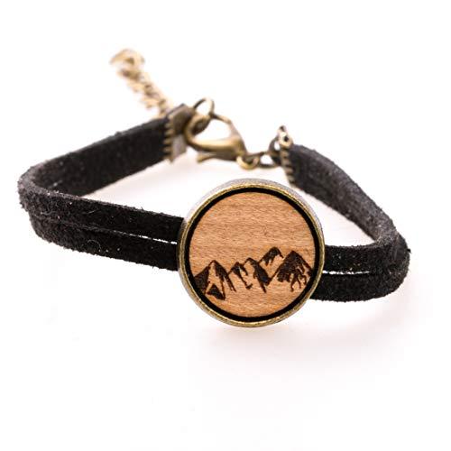 treeforce Berge Armkette aus Kirschholz mit schwarzem Samtband