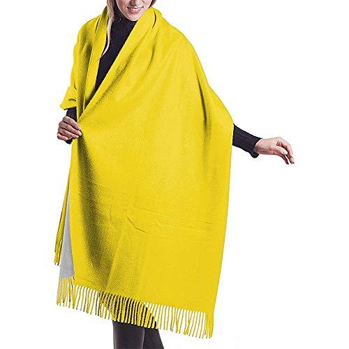 Amarillo canario Amarillo sólido Color del bloque Amarillo liso Amarillo brillante Chal Abrigo Bufanda cálida de invierno Capa Grande Bufanda de cachemira suave y acogedora Wra