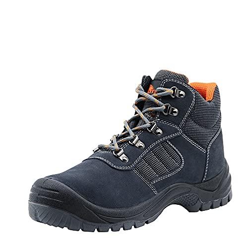 Botas de Trabajo de Cuero de Gamuza para los Hombres, Puntera de Acero S1P SRC Resistente al Aceite resbalón en los Zapatos de Seguridad, Industrial y de la construcción de Zapatos de Tobillo