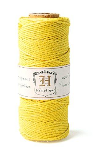 Hemptique 100% Hemp Cord Spool - 62.5 Meter Hemp String - Made with Love - No. 20 ~ 1mm Cord Thread for Jewelry Making, Macrame, Scrapbooking, DIY, & More - Yellow