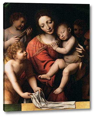 "The Virgin Holding The Sleeping Child, with St John and Two Angels by Bernardino Luini - 13"" x 16"" Gallery Wrap Canvas Art Print - Ready to Hang"