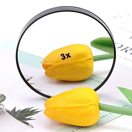 WBFN Miroir de maquillage, 3/5/10 / 15X Miroir grossissant avec deux Ventouses Outils cosmétiques Miroir rond Grossissement (Color : 3x)