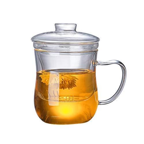 Tazas de Te Taza Cristal Con Infusor, aza de te flores sin plomo de alto silicio con filtro adecuado para té, café, leche, 350 ml (transparente)