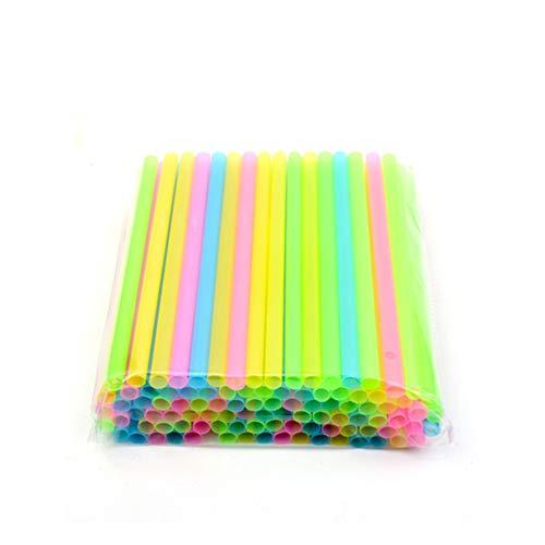 NorCWulT Plástico pajitas de Colores envueltos Individualmente Pajas de 8 Pulgadas de Largo y 1/8 Pulgadas Aiameter es de Boba Batido Slushies 20cm Color al Azar 50Pcs