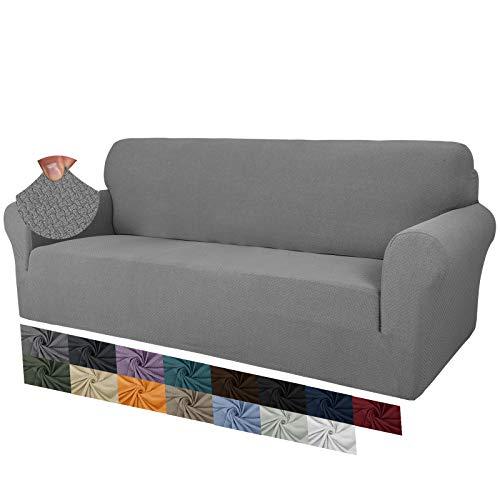 MAXIJIN Fodere per divano jacquard creative per 3 posti, 1 pezzo copridivano antiscivolo super elasticizzato per cani copridivano elastico (3 Posti, Grigio Chiaro)