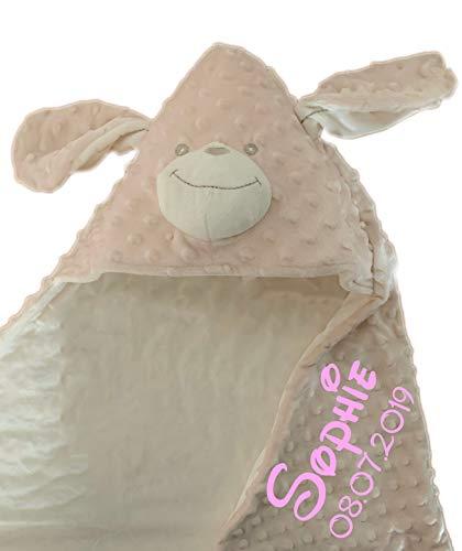 Deken met capuchon, met naam en geboortedatum, geborduurd, deken met capuchon, deken van termofrot, knuffelig warm, 75 x 100 Beige/Hund - OKR-MF BX 03
