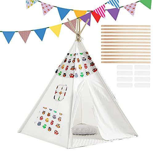 m zimoon Tipi Zelt für Kinder mit Farbiger Flagge, Tragbares faltbares Kinderspielzelt Spielzeug für Jungen Mädchen Baby Indoor & Outdoor Spielzelt Eulenmuster (Weiß)