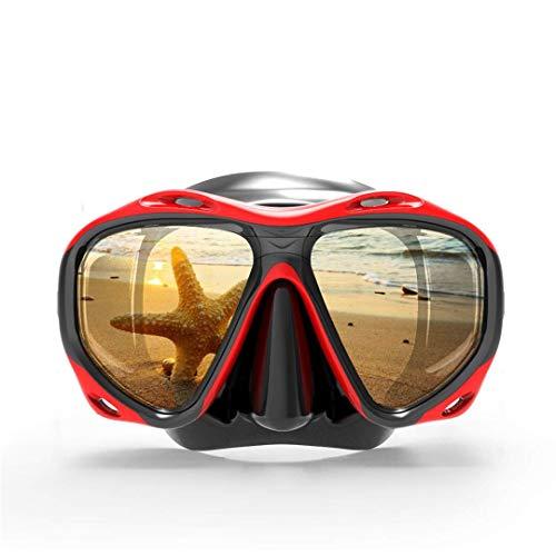 YYhkeby Máscara de Buceo de skuba Profesional Gafas Watersports Equipo de Snorkel Mascarilla de Caza subacuática Presbicia Myopia Lente Jialele (Color : Red)
