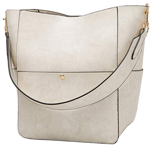 Molodo Women's Satchel Hobo Top Handle Tote Shoulder Purse Soft Leather Crossbody Designer Handbag Big Capacity Bucket Bags (Ivory white)