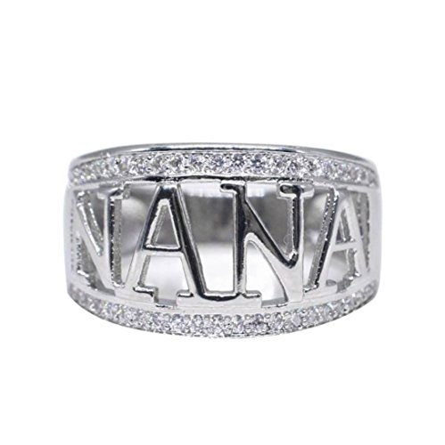 Clearance Rings Daoroka Exquisite Nana Ring Cubic Zirconia Diamond Nana Christmas Gift Birthday Present Jewelry Gift (9, Silver)