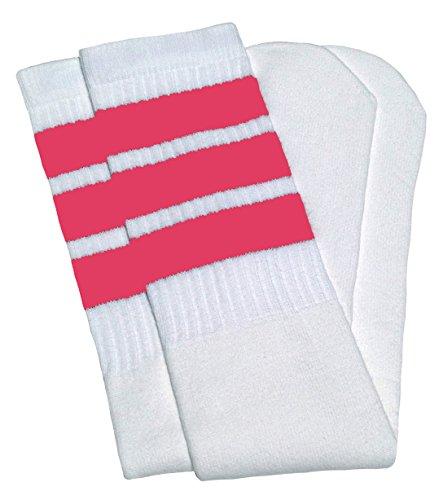 Skatersocks Skatersocken 76,2 cm über das Knie Socken, Damen Unisex-Erwachsene Mädchen, Weiß/Kaugummi-Rosa Streifen Stil 1, 30