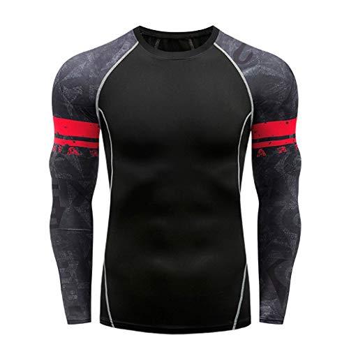 2019 Herren Langarm, Yoga Fitness Mode Männer Print T-Shirt Top Bluse Lose Sommer Freizeithemd