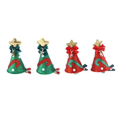 Lurrose 4pcs épingles à cheveux de Noël mignons pinces à cheveux bowknot barrette épingles à cheveux accessoires cheveux pour enfants bébé (2pcs bowknot rouge + 2pcs vert bowknot)
