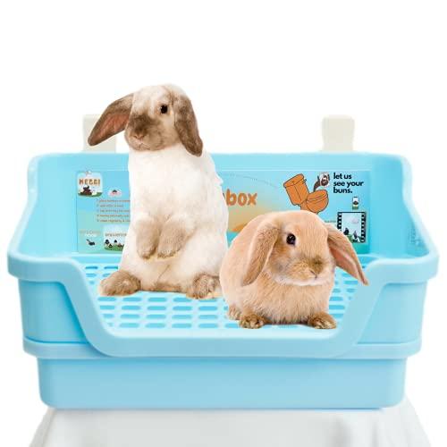HoppScotch.bun BUMBOX - Large Rabbit Litter Box w/Plastic Grid & Dump Tray - Pet Waste Station...