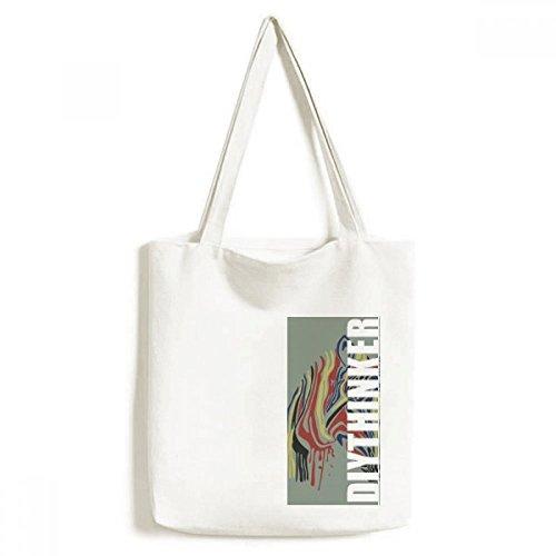 DIYthinker Mannen Graffiti Enkel Eenvoudige Kleurrijke Zebra Animal Tote Canvas Bag Winkelen Handtas Craft Wasbaar 33 cm x 40 cm (13 inch x 16 inch) Multi kleuren