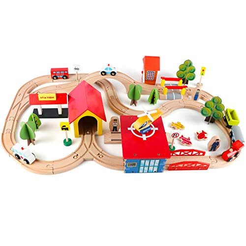 Qilay Wooden Train Sets 69 Pcs Train Tracks Toys for Toddlers 3+ Years Old Fits Thomas Railway Kits Kids Friendly Building Construction Toy for Girls Boys