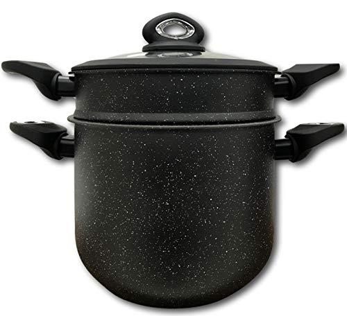 """Cflagrant® Couscous-Topf/Dampfgarer 28cm/10 Liter, Induktion, """"Steinoptik"""" mit Silikondichtung, Kochen ohne fettendes Material, ideal für 10bis 12Personen"""