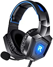 DIOWING Gaming Headset, PC Headset Surround Sound, Noise Canceling with Mic & LED Light, Compatible with PS5, PS4, Xbox One, Sega Dreamcast, PC, PS2, Laptop (Blue)