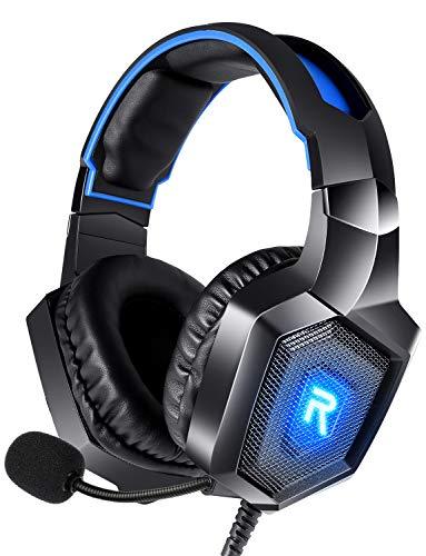 DIOWING Gaming-Headset, PC-Headset, Surround-Sound, Geräuschunterdrückung mit Mikrofon und LED-Licht, kompatibel mit PS5, PS4, Xbox One, Sega Dreamcast, PC, PS2, Laptop (blau)