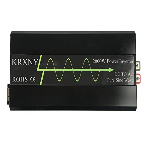 KRXNY 2000W Off Grid Pure Sine Wave Power Inverter 12V DC to 120V AC 60HZ Converter for Home Car Use with LCD Display USB Port