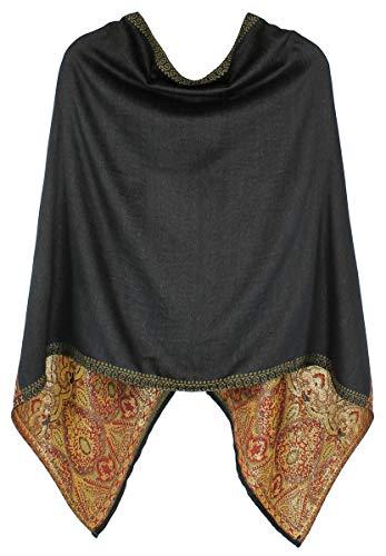 dy mode Poncho Damen Cape Eleganter Leichter Poncho Umhang - WJ070 (WJ070-Schwarz)