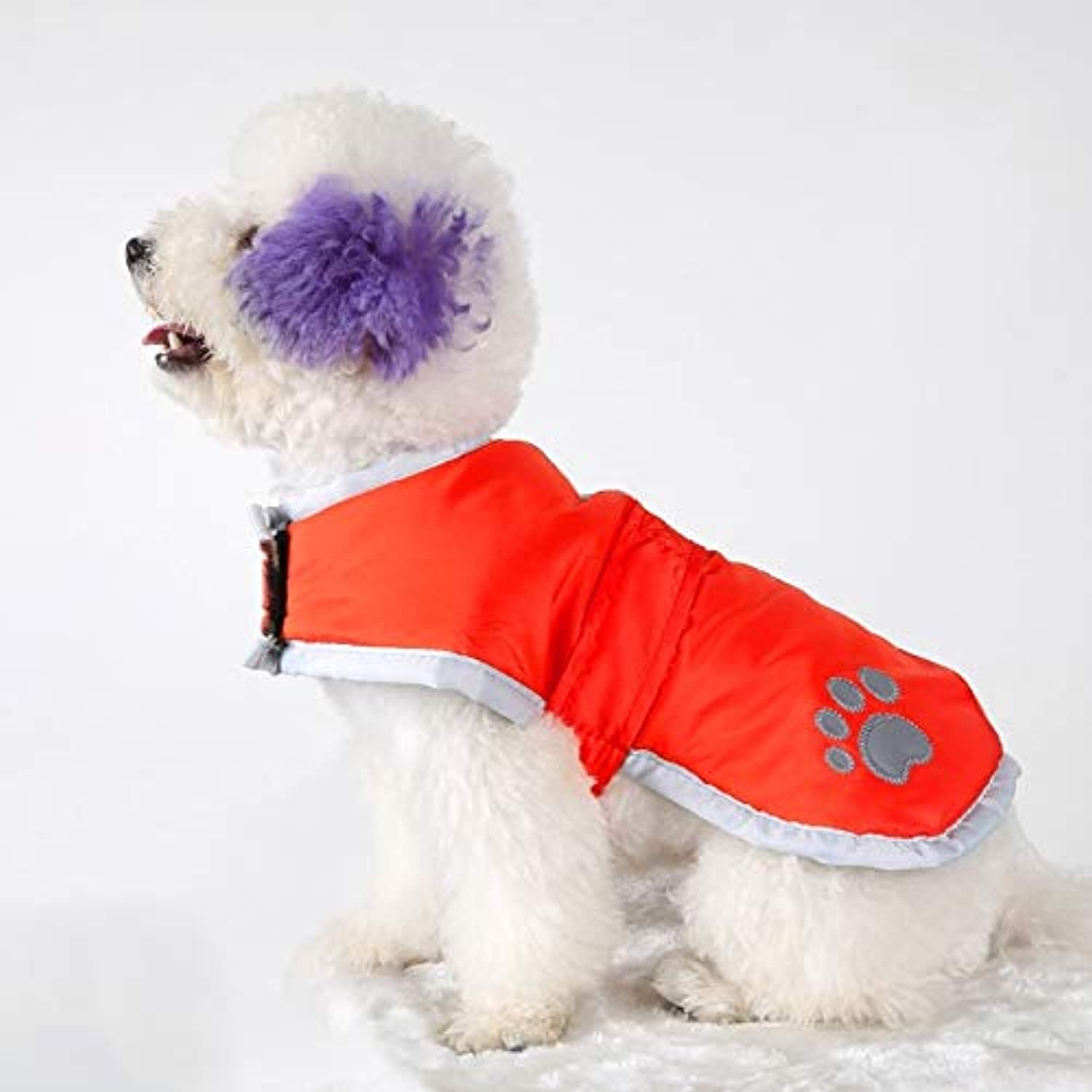 Autumn and Winter Pet Dogs Cotton Garment with Reflective Tape,Size  M, Bust  5259cm, Neck  3237cm (color   Red)