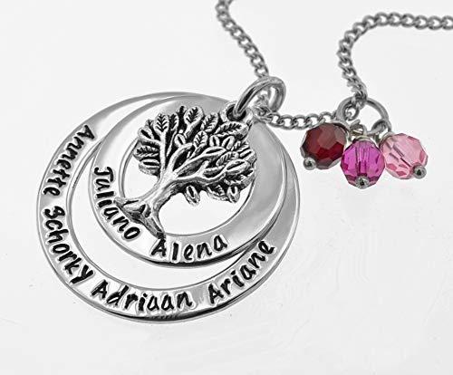 Namenskette mit Geburtsteinen, Familienbaum, Lebensbaumkette personalisierbar