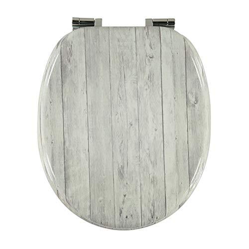 Toilettensitz WC Sitz Klobrille Klodeckel Toilettendeckel mit Absenkautomatik und verzinkten Scharnieren - Holz Design Deckel -Holz-Optik (weißes Holz)