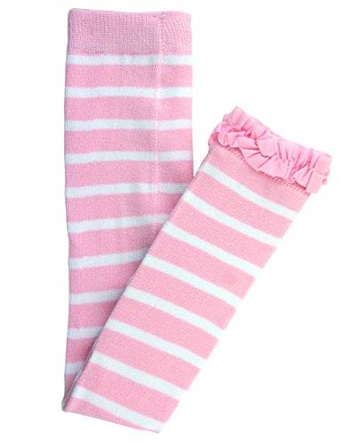 RuffleButts Girls Pink Striped Footless Tights w/Pink Ruffles - 12-24m