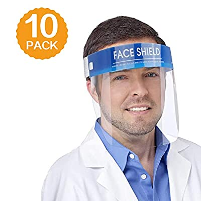 10 PCS Safety Face Shield Medical Full Face Protect Eyes and Face Plastic Face Shield with Protective Clear Film Elastic Band and Comfort Sponge